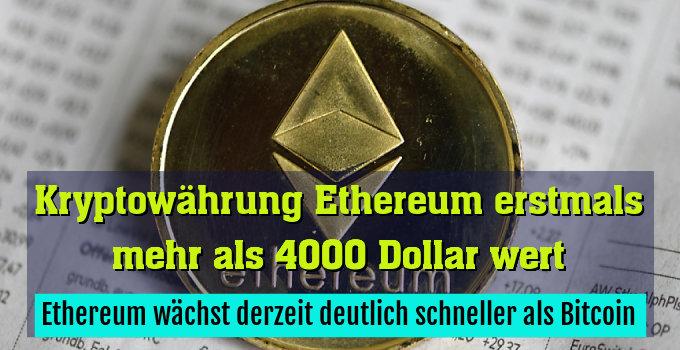 Ethereum wächst derzeit deutlich schneller als Bitcoin