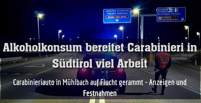 Carabinieriauto in Mühlbach auf Flucht gerammt - Anzeigen und Festnahmen