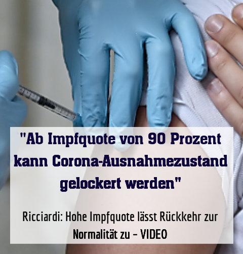 Ricciardi: Hohe Impfquote lässt Rückkehr zur Normalität zu – VIDEO