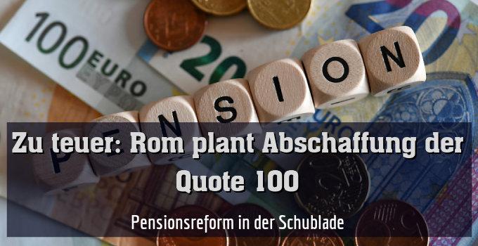 Pensionsreform in der Schublade