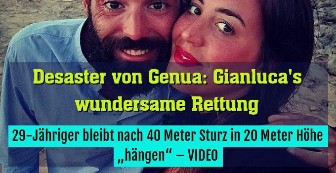 """29-Jähriger bleibt nach 40 Meter Sturz in 20 Meter Höhe """"hängen"""" – VIDEO"""