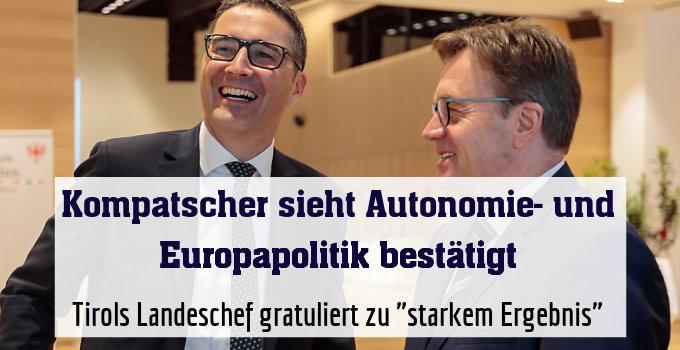 """Tirols Landeschef gratuliert zu """"starkem Ergebnis"""""""