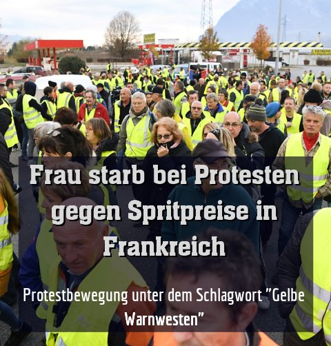 """Protestbewegung unter dem Schlagwort """"Gelbe Warnwesten"""""""