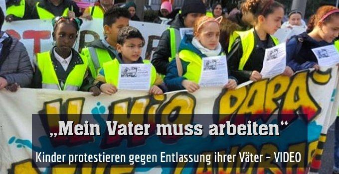 Kinder protestieren gegen Entlassung ihrer Väter – VIDEO