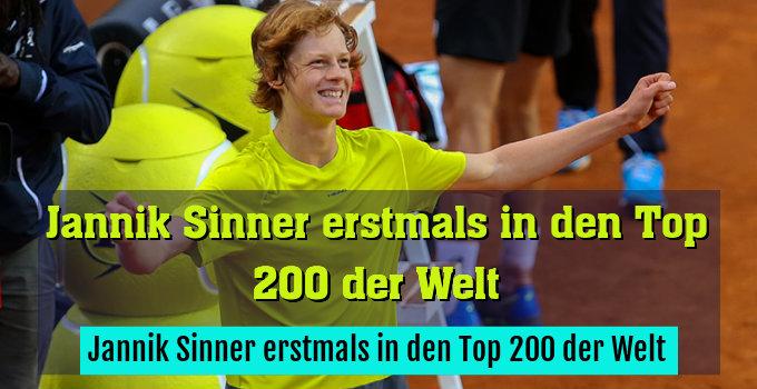 Jannik Sinner erstmals in den Top 200 der Welt