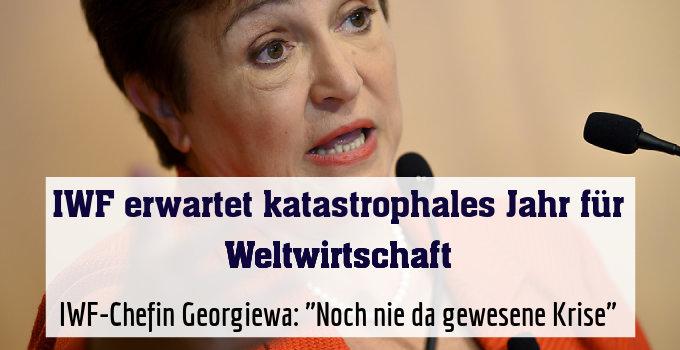 """IWF-Chefin Georgiewa: """"Noch nie da gewesene Krise"""""""