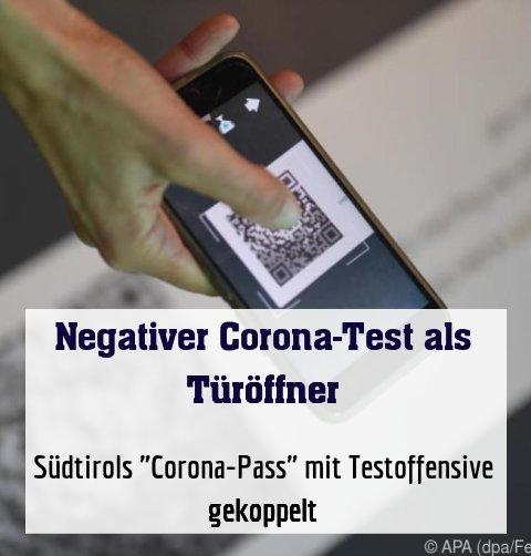 "Südtirols ""Corona-Pass"" mit Testoffensive gekoppelt"