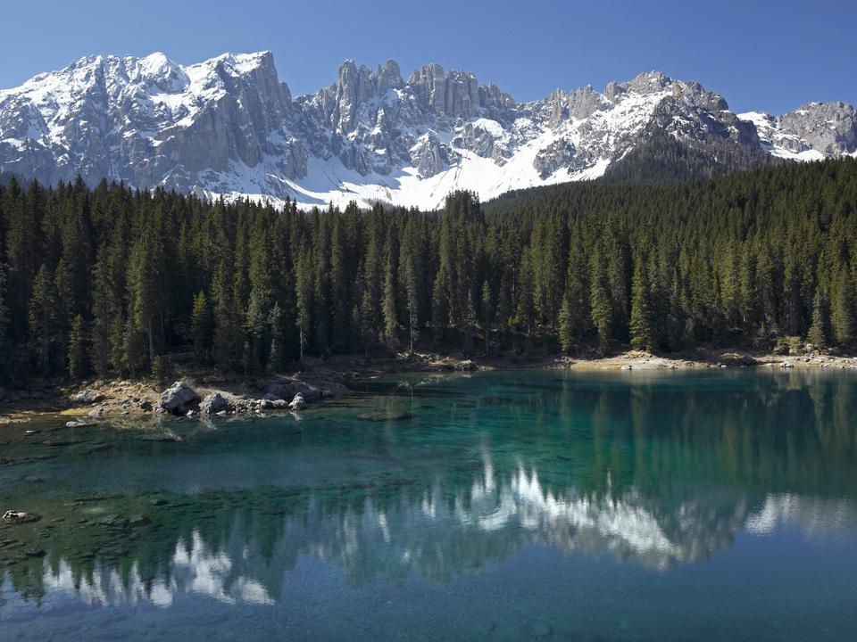Karersee, Latemar, Dolomiten, Südtirol, Italien