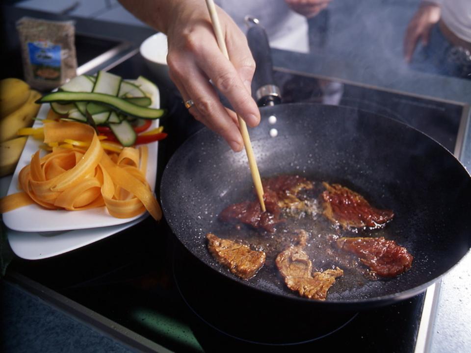 kochen essen fleisch pfanne