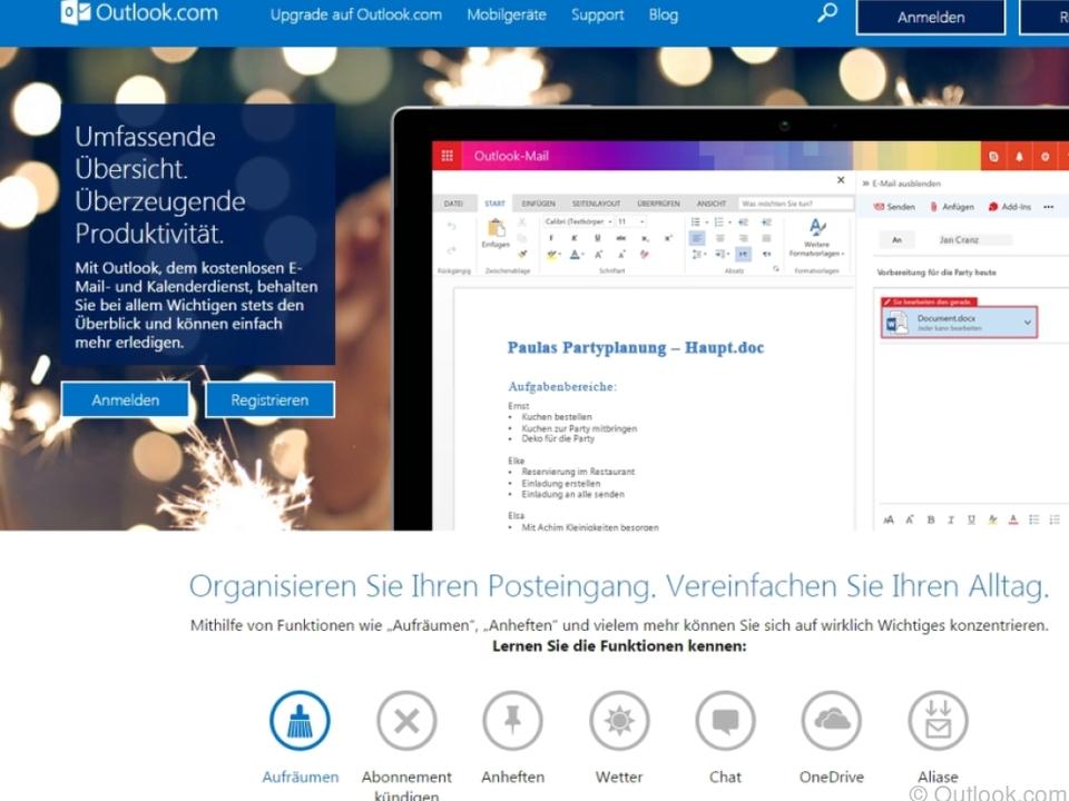 Outlook.com bietet neue Funktionen an