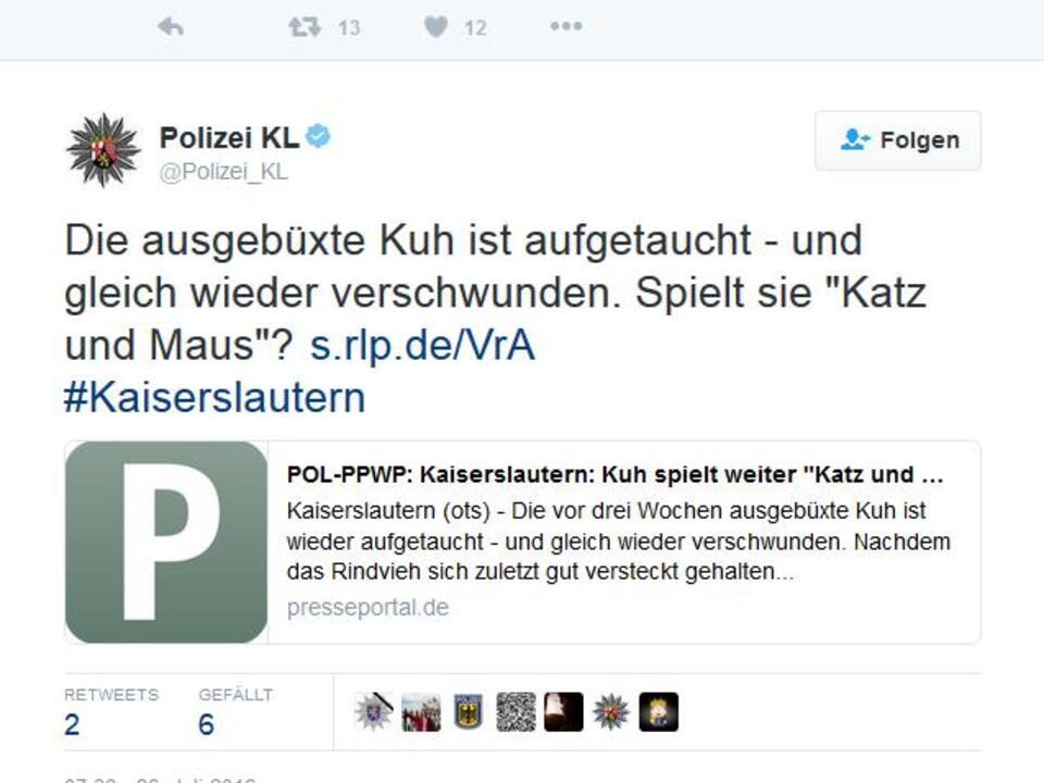 Polizeimeldung auf Twitter-Twitter-Polizei KL