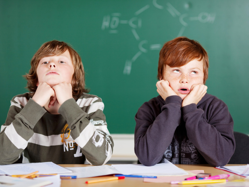 zwei genervte jungen im unterricht schule schüler