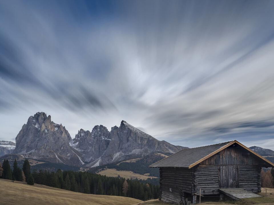 wolken wetter Dolomiten des gröden, Italien langkofel plattkofel seiser alm almhütte südtirol