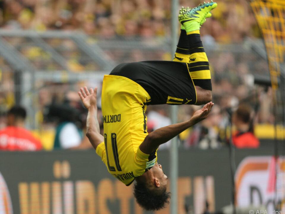 Aubameyang bejubelte mit einem Salto den Sieg gegen Mainz