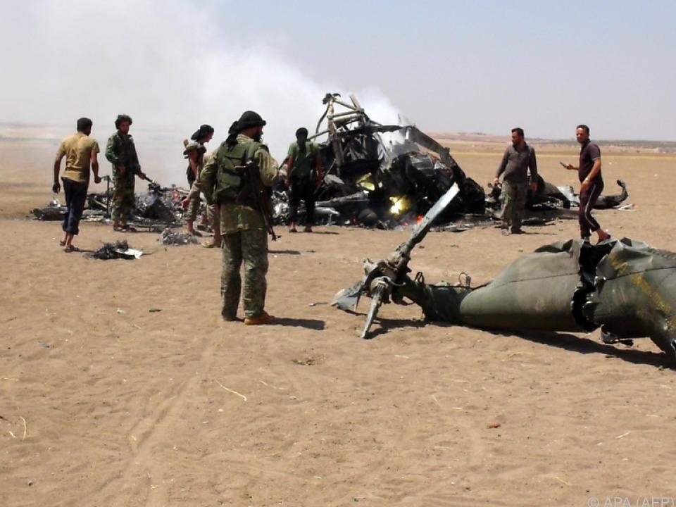 krieg In der Nähe wurde gestern ein russischer Hubschrauber abgeschossen