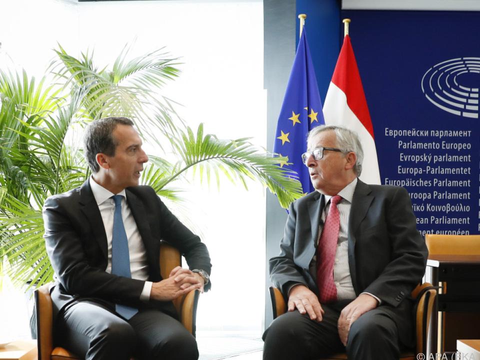 Bundeskanzler Kern traf Juncker in Straßburg