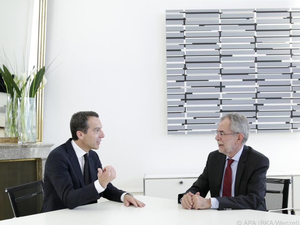Bundeskanzler Kern und Präsidentschaftskandidat Van der Bellen
