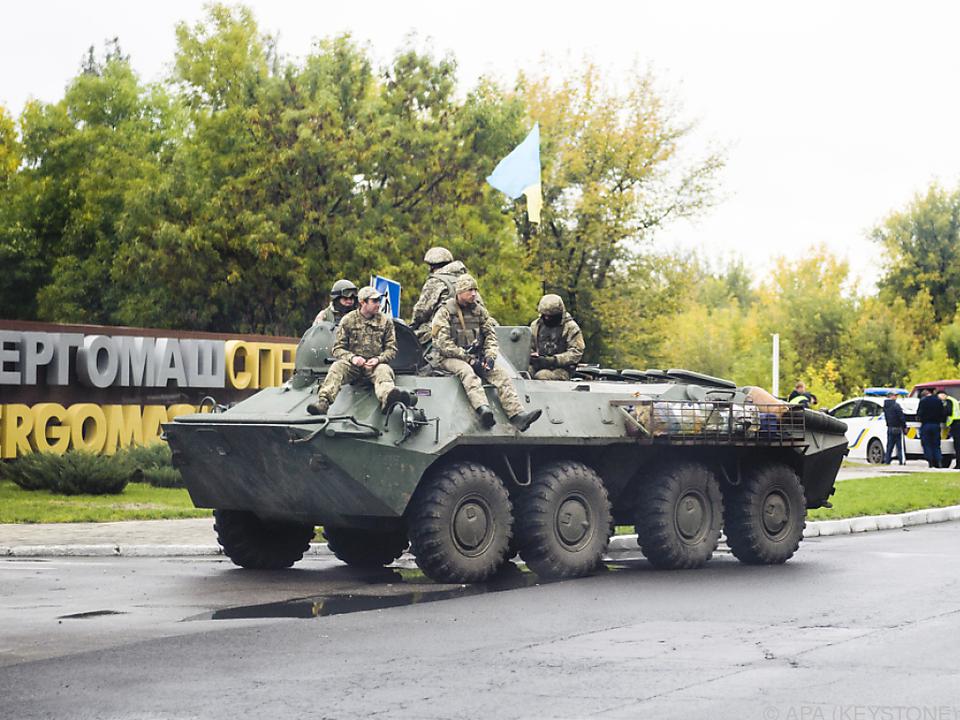 Ein Panzer der Ukraine nördlich von Donezk