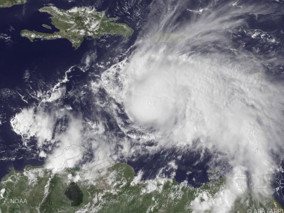 Satellitenbild von Matthew über der Karibik