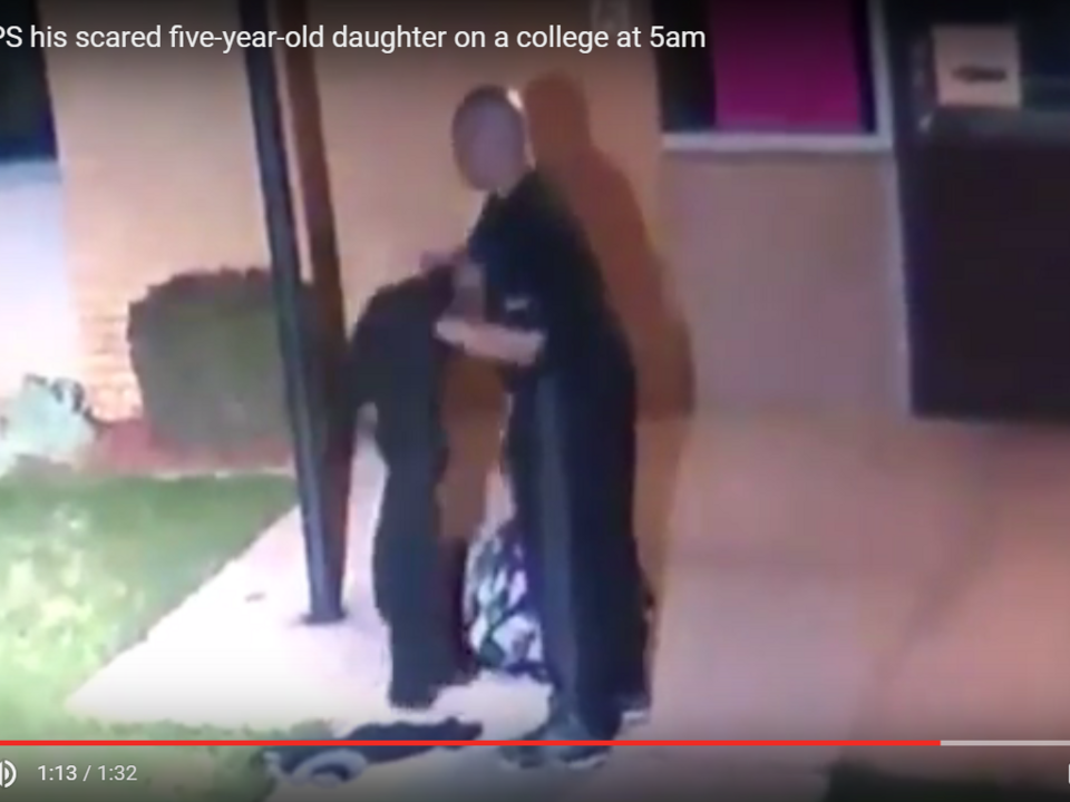 YouTube/V CLIPS father DUMPS his scared five-year-old daughter on a college at 5am  )