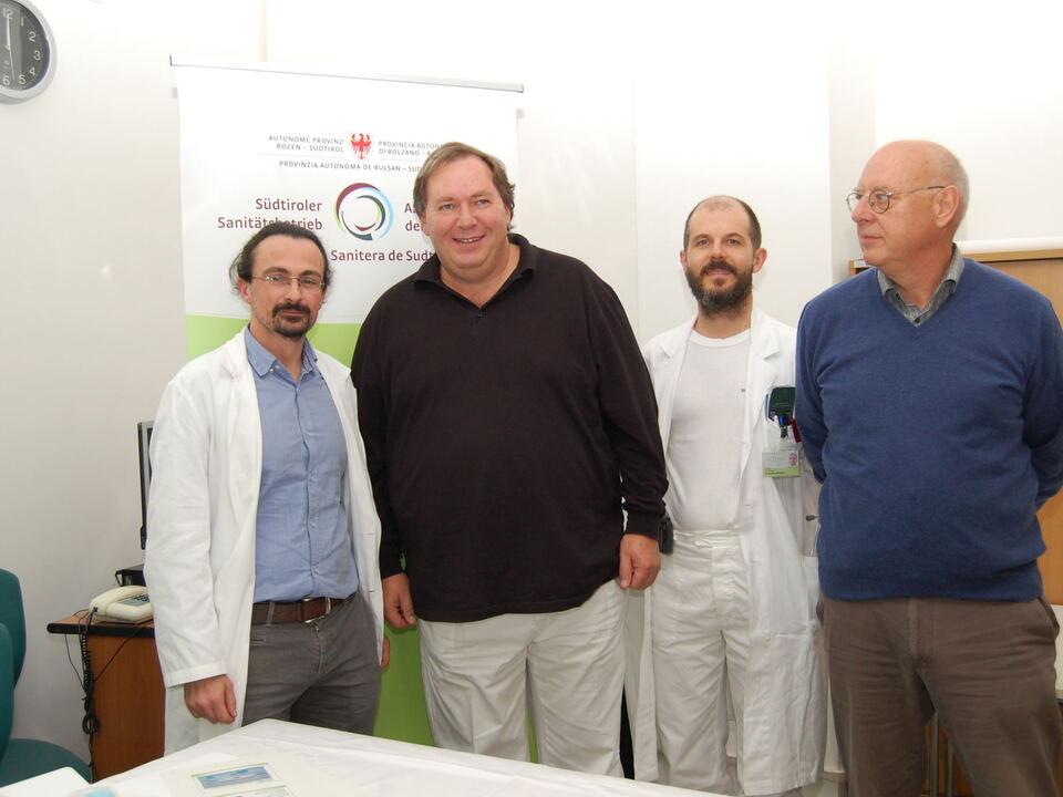 Stellten das Ambulatorium für Kinder-Rheumatologie heute (11.10.2016) vor Bernd Raffeiner, Armin Maier, Gianluca Boscarol, Oswald Mayr - v.l. - Kopie