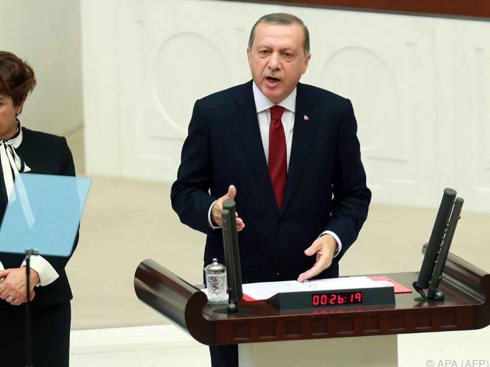 Türkischer Präsident Erdogan macht Druck