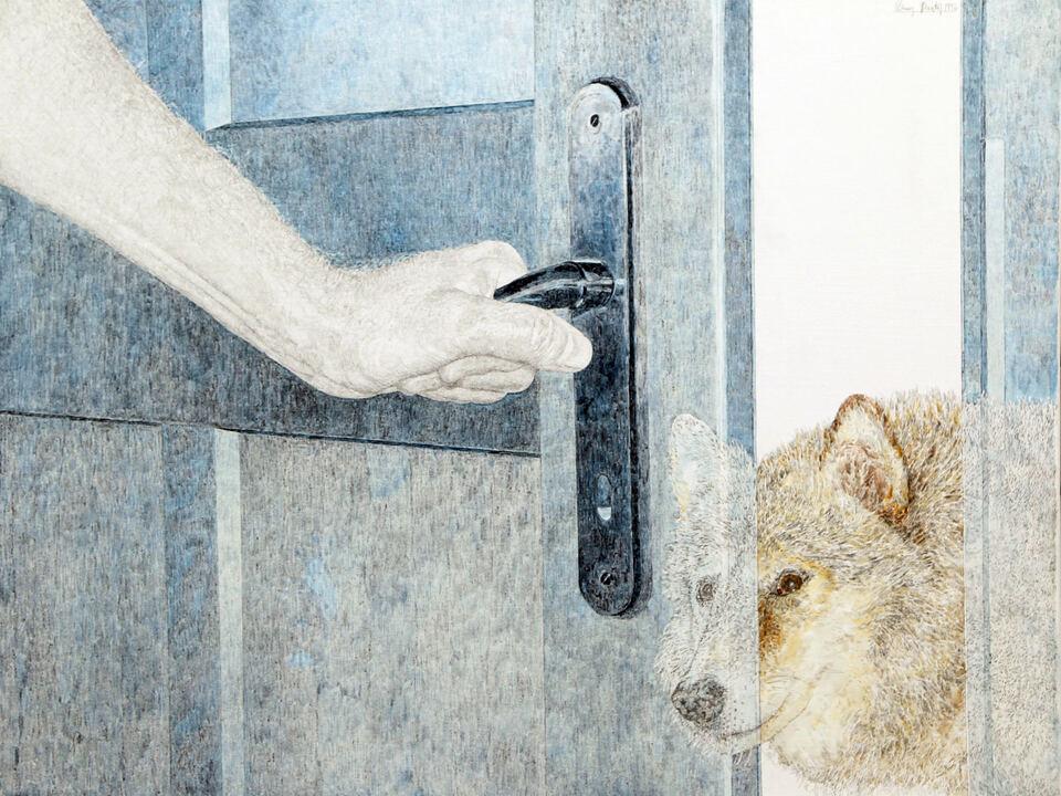Elmar Peintner Titelbild_Dem Wolf die Tür öffnen_1996_Bleistift Eitempera auf Leinwand _50x65cm