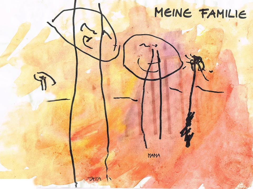 Familie Kinderzeichnung IWE