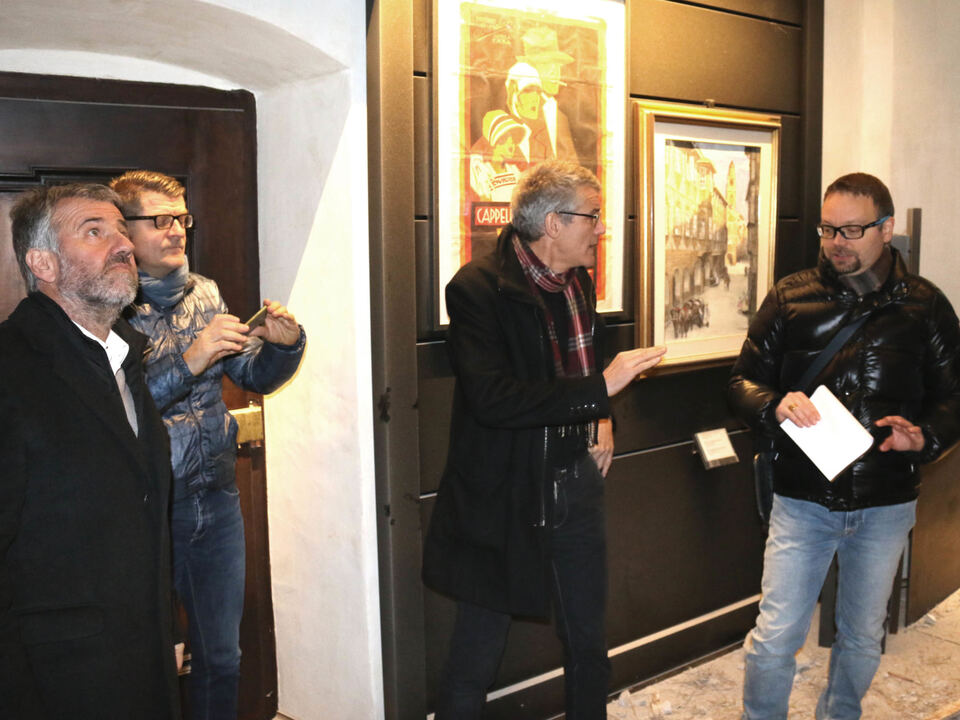 deckensturz palais mamming von links BM Paul Rösch Nikolaus Mittermair, Elmar Gobbi und Andrea Tedesco