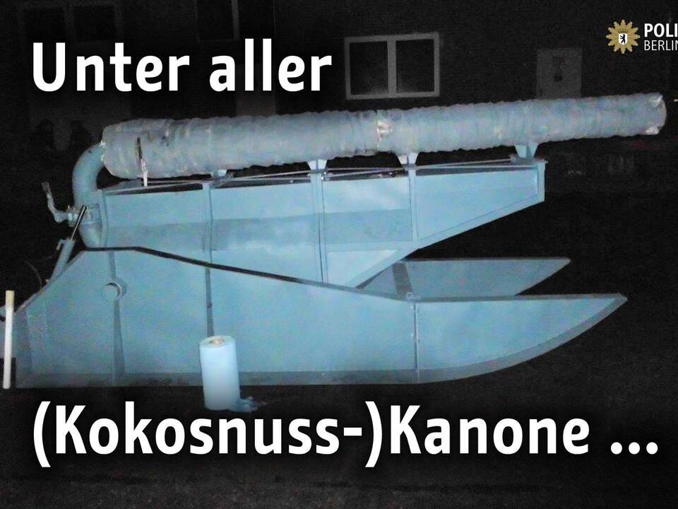 Kokosnusskanone als Kunstprojekt, von der Polizei beschlagnahmt