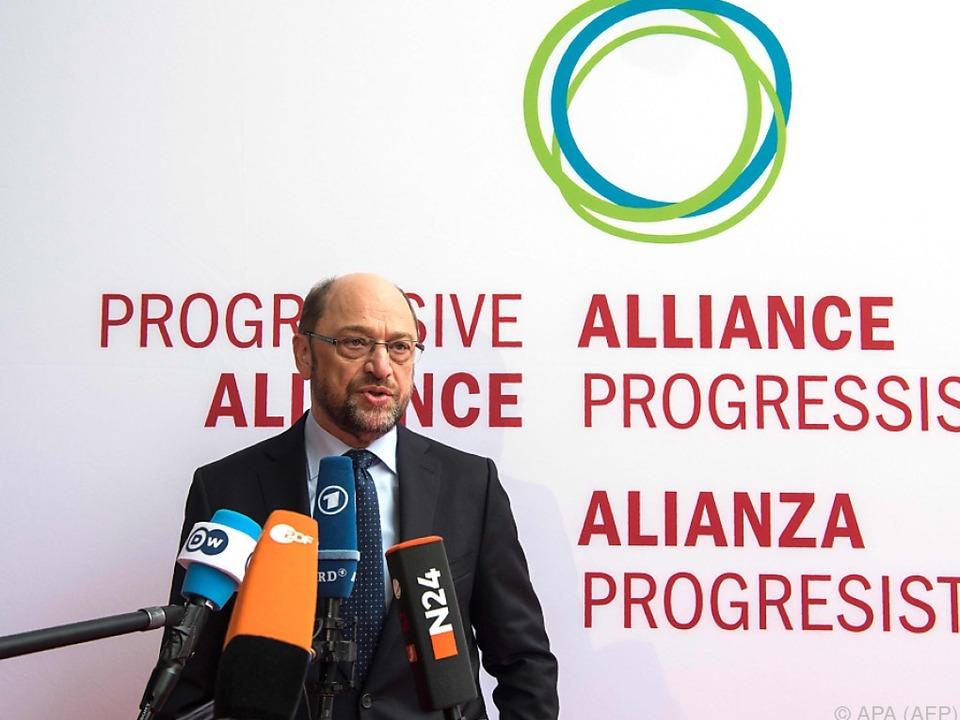 Gastgeber Martin Schulz konnte Christian Kern nicht begrüßen
