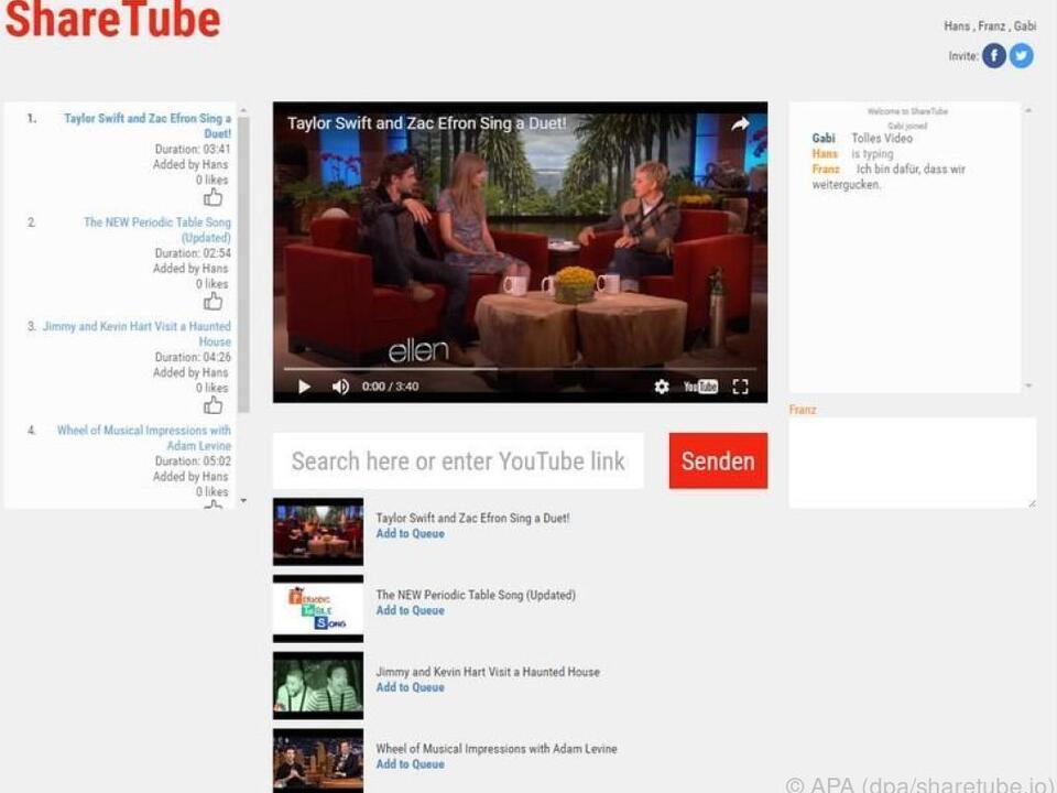 Mit ShareTube läuft bei allen Zusehern die Clip-Wiedergabe synchron