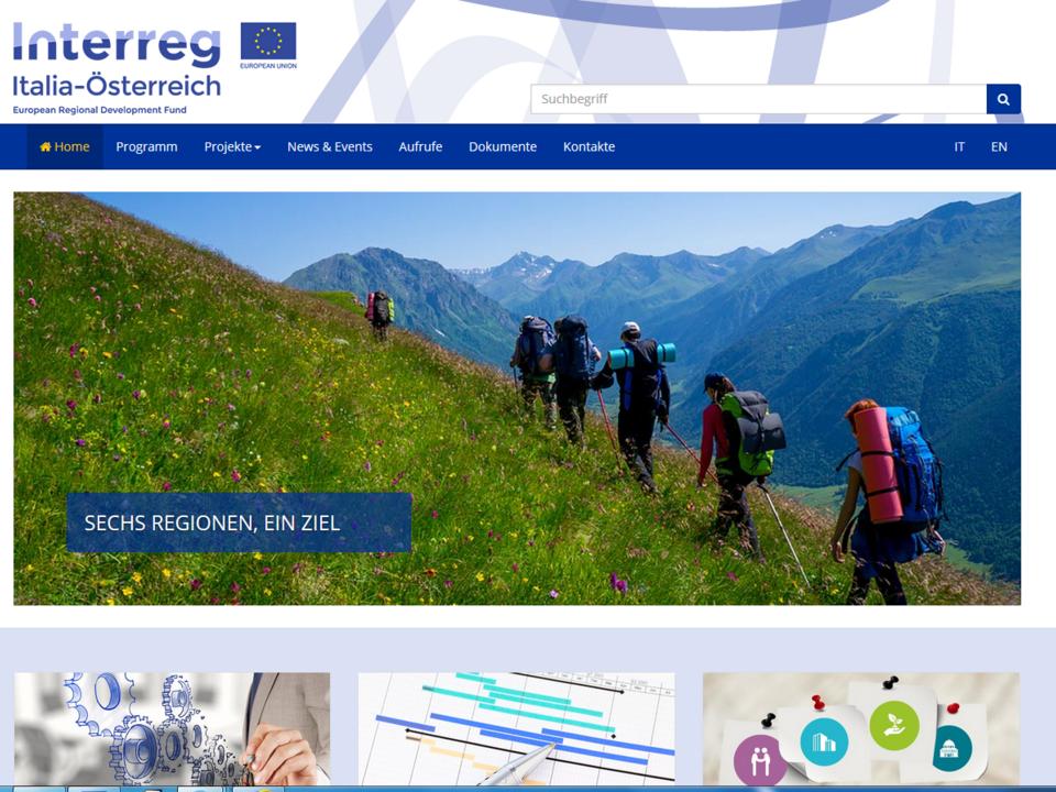Die Webseite des Interreg-Programms Italien-Österreich