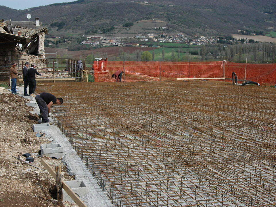 Arbeiten in Norcia/Bauarbeiter
