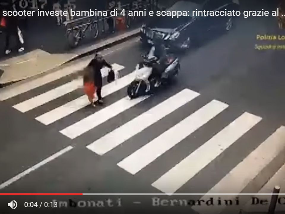 YouTube/La Piazza Nel Palazzo-Milano, in scooter investe bambina di 4 anni e scappa: rintracciato grazie al video