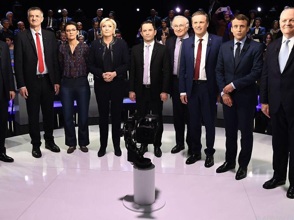 Zehn von elf Kandidaten für den Elysee-Palast
