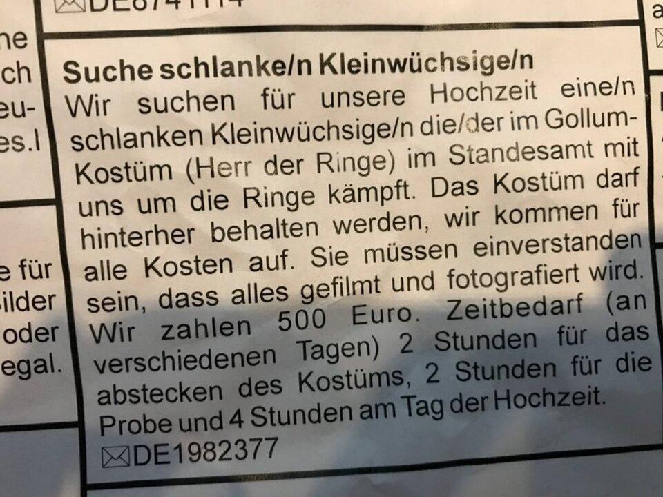 Anzeige: deutsches Ehepaar sucht Gollum-Schauspieler
