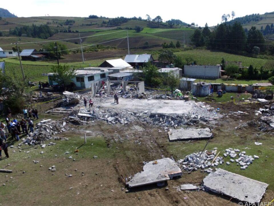 Die Explosionen hinterließen ein Trümmerfeld