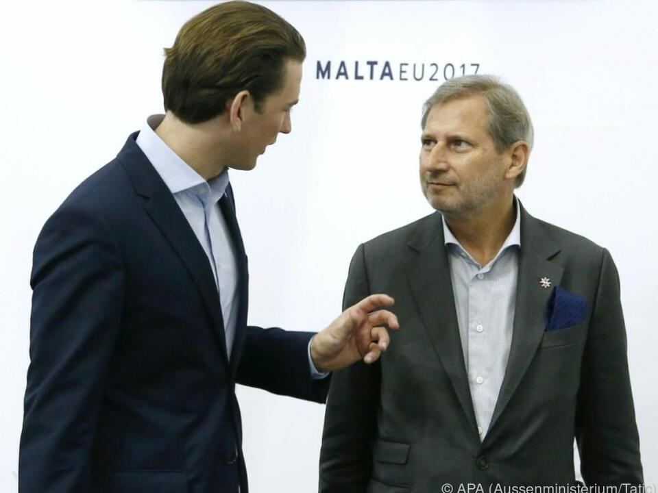 EU-Kommissar Hahn ist von Sebastian Kurz überzeugt