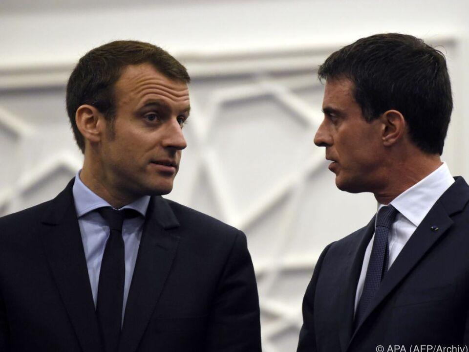 Macron (l.) und Valls (r.) kennen einander gut