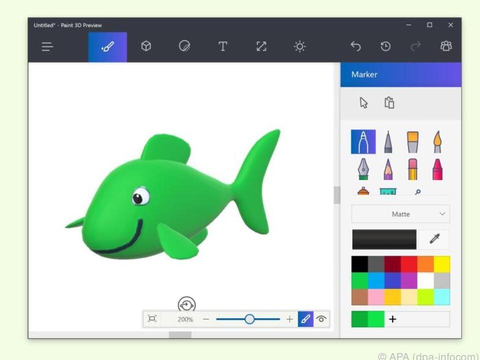 Mit Paint 3D können 3D-Oberflächen gestaltet werden