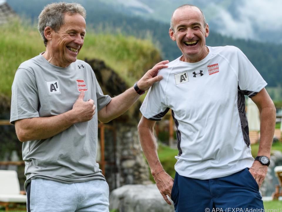 Abfahrtstrainer Brunner und Cheftrainer Puelacher sind guter Dinge