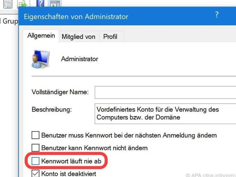 Bei Administrator-Funktion \