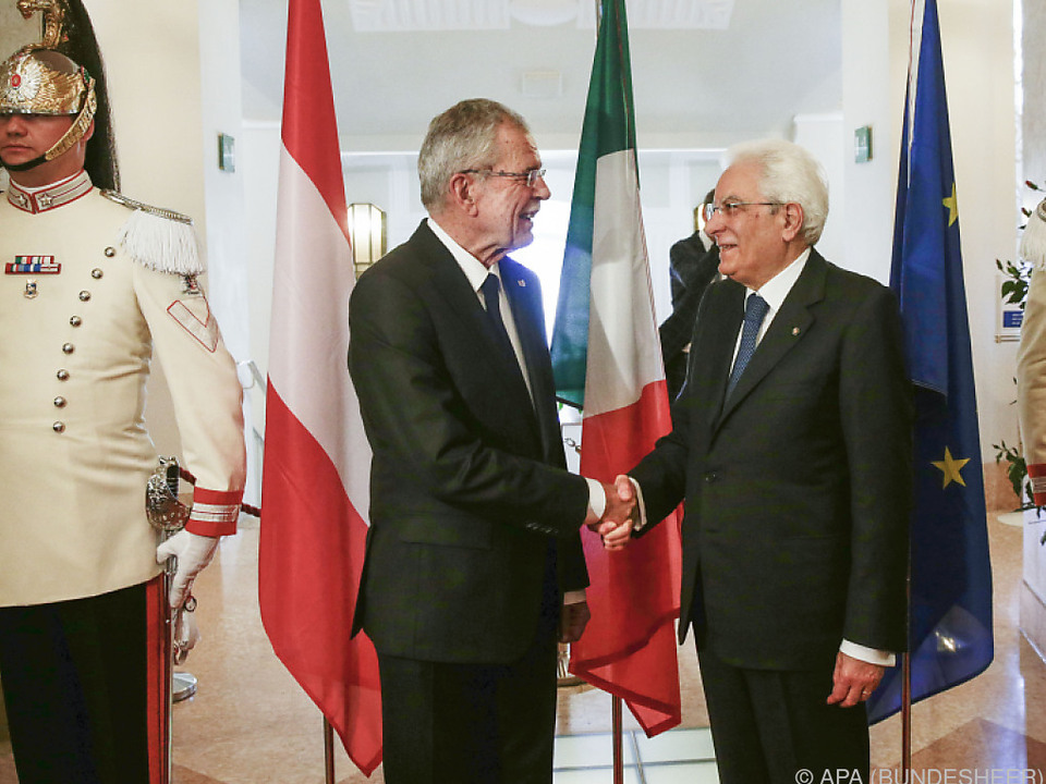 Die Staatschefs Van der Bellen und Mattarella in Meran