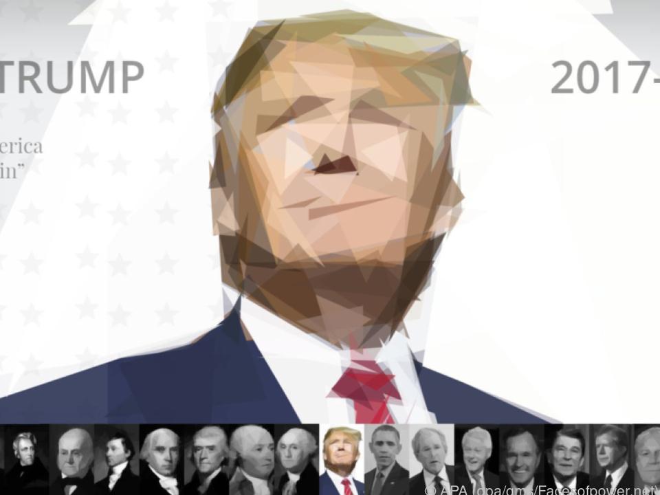 Facesofpower.net zeigt alle 45 Präsidenten in der Geschichte der USA