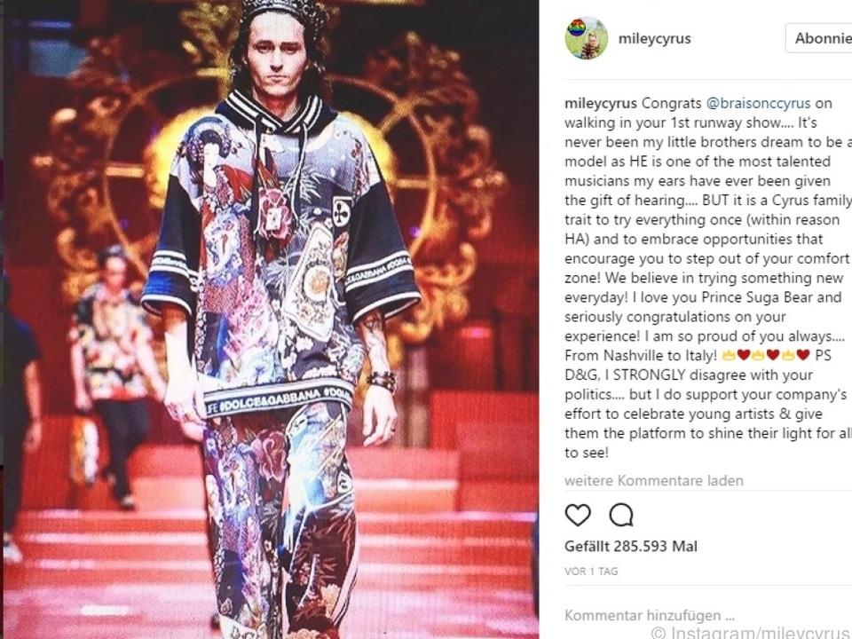 Miley Cyrus gratulierte ihrem Bruder mit diesem Post auf Instagram
