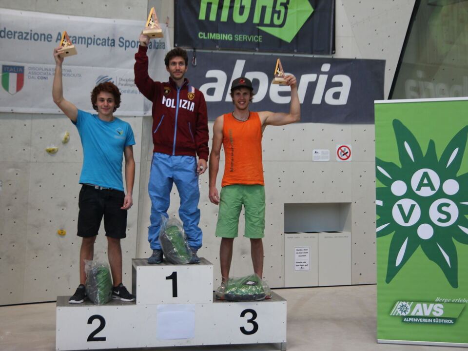 Podium Männer zweiter Italiencup Sportklettern