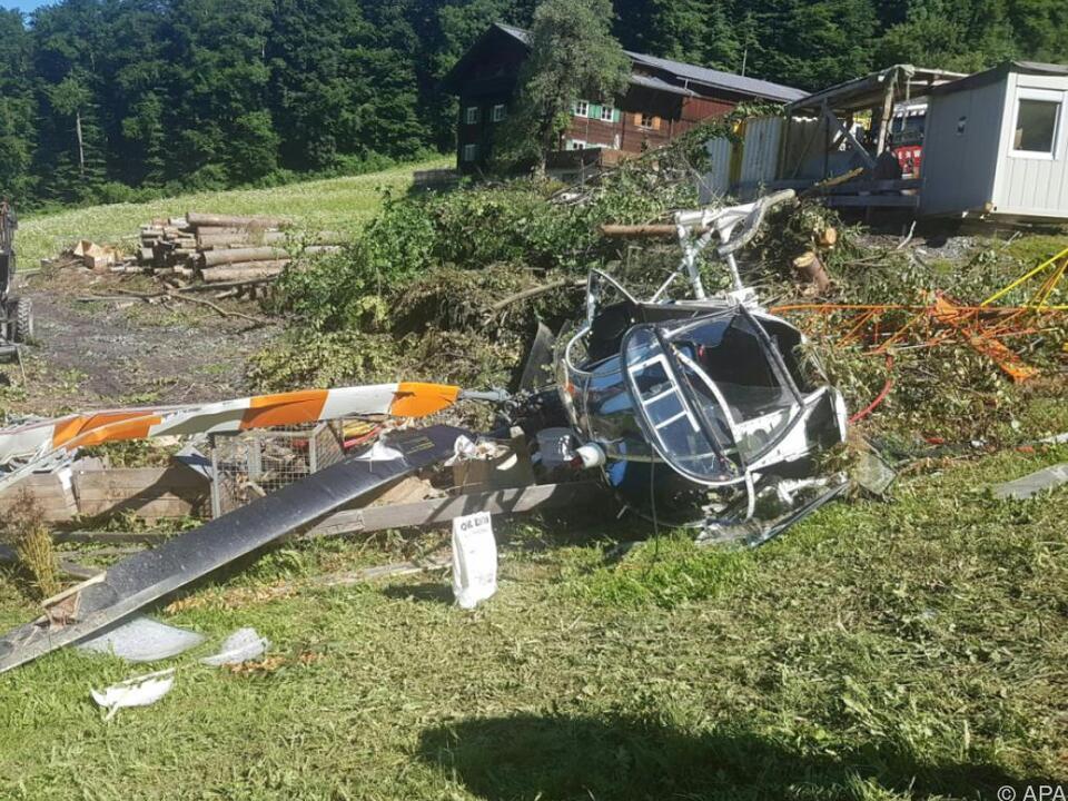 Der Hubschrauber wurde zerstört