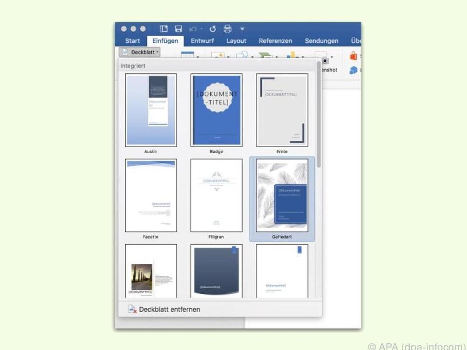 Ein Deckblatt hübscht ein Dokument auf und sorgt für Abwechslung