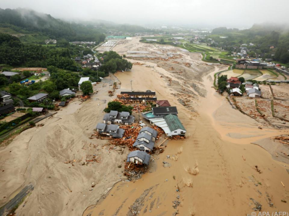 Einige Häuser wurden durch die starken Regenfälle weggeschwemmt